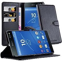 Cadorabo - Funda Sony Xperia C5 Book Style de Cuero Sintético en Diseño Libro - Etui Case Cover Carcasa Caja Protección (con función de suporte y tarjetero) en NEGRO-FANTASMA