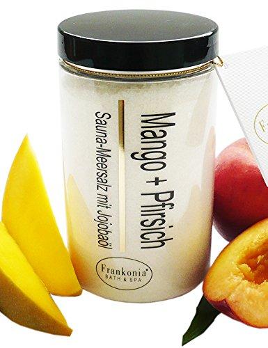 Lashuma Sauna Salz Mango - Pfirsich mit Jojobaöl, Körperpeeling 400 g