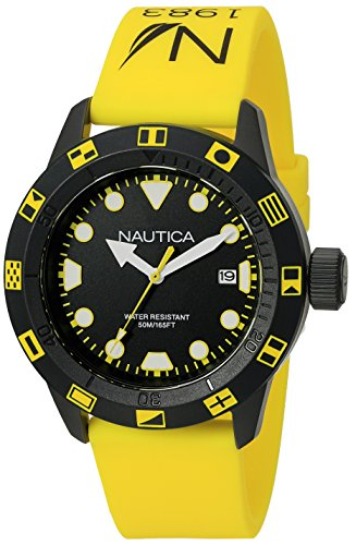 Nautica Unisex NAD10078G NSR 100 FLAG Analog Display Quartz Yellow Watch