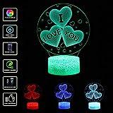 samLIKE 3D Nachtlicht I LOVE YOU LED Optical Illusion Schreibtischlampe mit Fernbedienung Tisch Nachtlampe Zuhause Dekor Acryl Panel & ABS Basis 7 Farbwechsel USB Tischlampe für Kinder (Weiß Base)