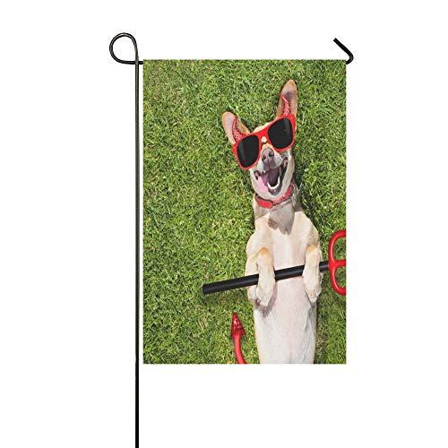 Scary Kleines Kostüm Mädchen - JOCHUAN Home Dekorative Outdoor Doppelseitige Chihuahua Dog Ghost Halloween Scary Spooky Garten Flagge, Haus Yard Flagge, Garten Yard Dekorationen, saisonale Willkommen Outdoor Flagge