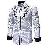 MORCHAN  Hommes Automne Hiver Casual Pull à Manches Longues t-Shirt Haut Chemisier(FR-58/CN-XXXL,Blanc)