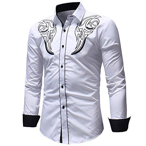 MORCHAN  Hommes Automne Hiver Casual Pull à Manches Longues t-Shirt Haut Chemisier(FR-56/CN-XXL,Blanc)