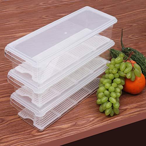 Kurtzy 3er-Set Kühlschrank Aufbewahrung Organizer - Kunststoff Crisper Box - Stapelbare Kühlschrankbehälter Tabletts - Aufbewahrungsbox - Küchen Organizer für Fleisch, Kleine Gewürze, Gemüse und Mehr