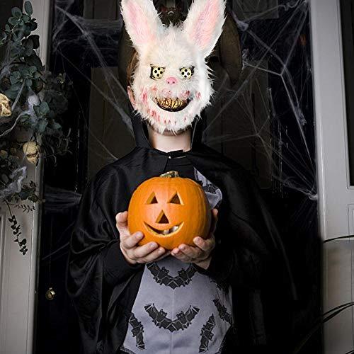 xiangpian183 Bunny Mask Halloween Streich Evil Bloody Rabbit Scary Maske PVC Plüschtier Cosplay Maske für Kinder Erwachsene, weiß