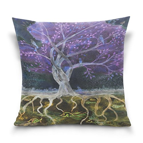 Jacquard-400-thread (Not afraid Forest Purple Tree Cotton Pillowcase 18 X 18 Inches Twin Sides, Watercolor Purple Tree Pillow Case Sham Cover Protector Decorative for Home Hotel Couch Ded)