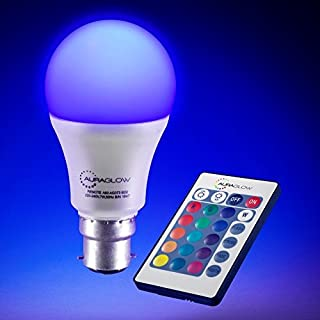 AURAGLOW 7w Remote Control Colour Changing LED Light Bulb B22, 60w EQV Warm White Dimmable Version - 3rd Generation