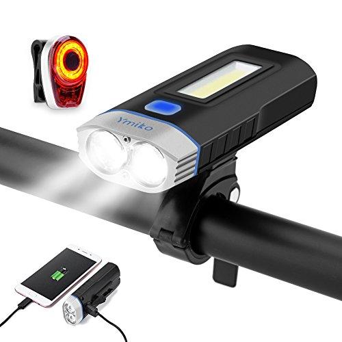 LED Fahrradbeleuchtung set,Ymiko USB Wiederaufladbare mit Wasserdicht IPX 4