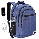 YAMTION Laptop Rucksack Jungen Rucksack Wasserdicht Große Kapazität Rucksack Daypack mit 15.6 Zoll Laptopfach und Kopfhöreranschluss für Schule Arbeit Reise (B16-Blau)