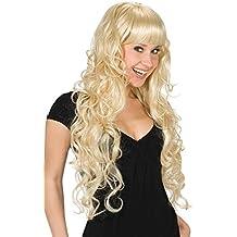 Peluca pelo largo con flequillo mujer rubio