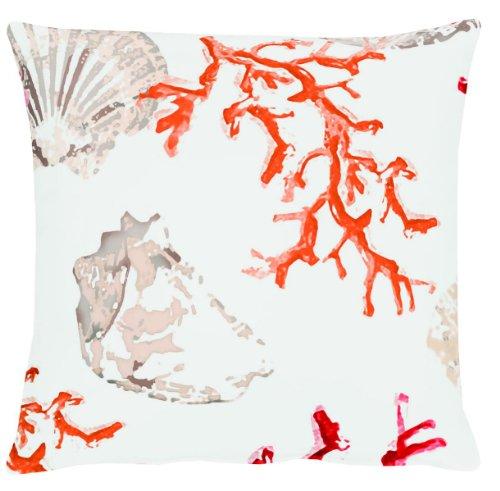 APELT Kissenhülle 4056 Farbe 30, moderner und trendiger Kissenbezug im Loft Design, hochwertige und schicke Zierkissenhülle mit Muscheln bedruckt in Weiß-Orange-Rot,  Größe 49x49 cm