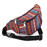 Bum Bag fanny Pack Festival Money Waist Pouch Travel Canvas Belt Grunge Neon (Multi colour tribal print)