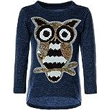 BEZLIT Mädchen Pullover Pulli Wende-Pailletten Sweatshirt Vogel Motiv 21601, Farbe:Blau, Größe:116