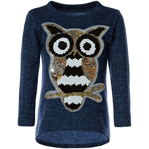 BEZLIT Mädchen Pullover Pulli Wende-Pailletten Sweatshirt Vogel Motiv 21601 Blau Größe 128