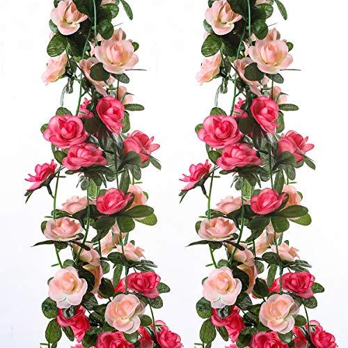 TOMYEER Künstliche Rosenranken, 2,5 m, für Zuhause, Hochzeit, Party, Garten, Kunst-Dekoration, Rosa, 2 Stück