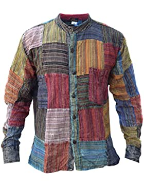 LITTLE KATHMANDU Maglietta a righe patchwork Grandad Summer festival Kurta camicia