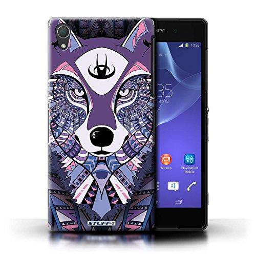 Coque en plastique pour Sony Xperia Z2 Collection Motif Animaux Aztec - Tigre-Bleu Loup-Pourpre
