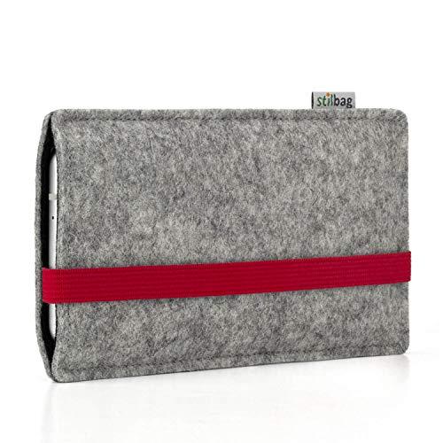 stilbag Funda Leon para Xiaomi Redmi Go | Color: Rojo/Gris | Bolsa de Fieltro para Smartphone | Cubierta Protectora para móvil | Cajas para móvil Made in Germany