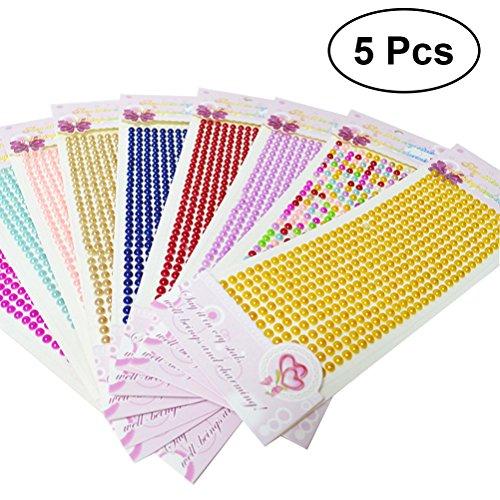 Yeahibaby Künstliche Perlen, Edelstein-Aufkleber-Ohrringe mit Kleber, 5Pcs (Mix Color) (Kleber Edelsteine)