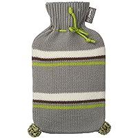 Fashy - Wärmflasche Strickbezug Rollkragen Grau Grün Creme gestreift Bommel 6705 preisvergleich bei billige-tabletten.eu