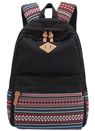Panegy Damen Mädchen Mode Design Rucksack Ethnischen Stil Canvas Rucksäcke Schulrucksack für Schüler Freizeit Outdoor Sport Wanderrucksack - Schwarz Schwarz