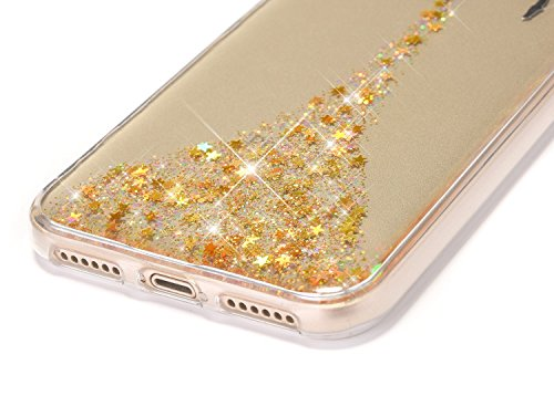 JAWSEU iPhone X Coque Transparent Glitter,iPhone X Plus Etui en Silicone Clair avec Pailletee,Brilliante Bling À pois Soft Tpu Case Cover,Ultra Slim Sparkle Scintillant Flexible Souple Gel Housse Etui jaune/Ange
