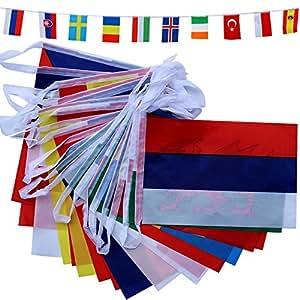 TOAOB EM 2016 Frankreich Weltmeisterschaft alle 24 Nationen 20x28cm Flaggen Fahnenkette Girlande Länge ca. 8m