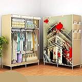 Questquo 170X105X45Cm Portable Clothes Closet Canvas Wardrobe Storage Organizer Steel Frame Storage Bag Color #04
