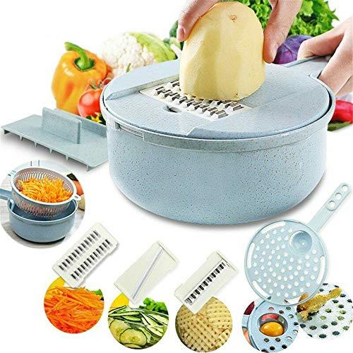 Adaym Gemüseschneider-Einstellbarer Mandolinenschneider-Küchenschneider, 8-in-1-Julienne-Schneidemaschine mit Lebensmittelaufbewahrung und Filterkorb, Gemüseschneider Julienne Slicer