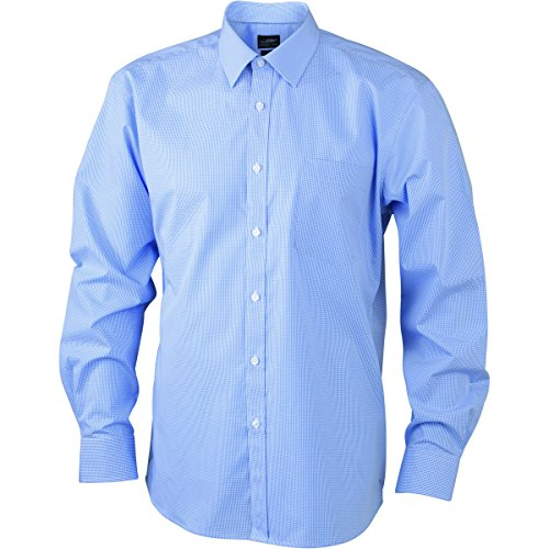 JAMES & NICHOLSON -  Camicia Casual  - A quadri - Maniche lunghe  - Uomo blanc - bleu clair