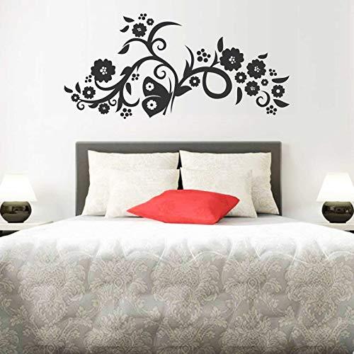 INDIGOS UG Wandtattoo - Wandaufkleber - Wandtattoo Blumenranke - 60cm x 28cm schwarz - Dekoration Küche Wohnzimmer Wand