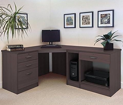 SET-18-IN-WN Walnut Corner Desk Filing Drawer Cabinet Living Room Home Office Furniture UK Modern Quality Designs Collections Cupboard For Books Bookcase Corner Hutch Lounge