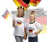 Tshirt Shirt Trikot Deutschland Fußball Fussball Rundhals Fußballtrikot Fussballtrikot Fussballshirt Fanartikel T-Shirt weiß weiss für S-XL Kinder Jungen und Mädchen zur Fussball Weltmeisterschaft wm 2018 Russland (146/152)