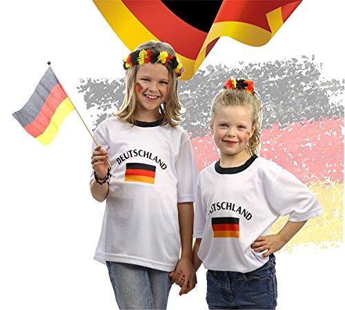 Tshirt Shirt Trikot Deutschland Fußball Fussball Rundhals Fußballtrikot Fussballtrikot Fussballshirt Fanartikel T-Shirt weiß weiss für S-XL Kinder Jungen und Mädchen zur Fussball Weltmeisterschaft wm 2018 Russland (122/128)