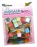 folia 59209 - Mosaiksteine glänzend, aus hochwertigem Kunstharz, 10 x 10 mm, 190 Stück sortiert in 20 Farben, glänzend und lichtdurchlässig