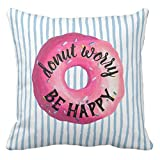 jingqi Fashion Chic Donut Worry Be Happy Throw Pillow Case Light Blue Striped Donut Cushion Cover Funny Printed Room Floor Decor 18