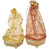 Shubh Wedding Steel Basket (Multicolour) - Set of 2