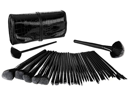 Haria 32 Piece Black Make up Brush Set With black case