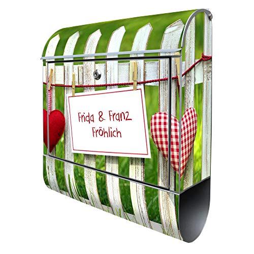 BANJADO Design Briefkasten mit Zeitungsfach, 2 Schlüssel, A4 Einwurf, silber pulverbeschichtet, mit Motiv WT Gartenzaun