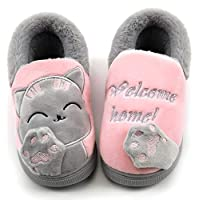 Kids Winter Slipper Shoes Girls Boys Plush Warm Slip-On Boots Fur Lined Anti-Slip Indoor House Slippers Shoes Pink(Cat) 6/7 UK Child/16-17CN