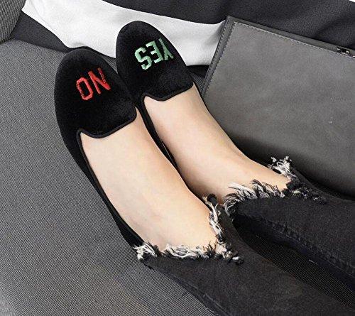 GLTER Damen Flache Schuhe Sandalen Samt Brief Gestickten Runden Kopf Flachen Mund Niedrigen Absatz Schuhe Slip-On Mules Schuhe Schwarz Court Schuhe Black