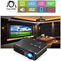"""HD LCD 1080P Video Projectors 4400 Lumen with HDMI USB 200"""" Display Multimedia Outdoor Movie Projector for Gaming Home Cinema Artwork, Compatible with DVD Player Computer Playstation TV Stick"""