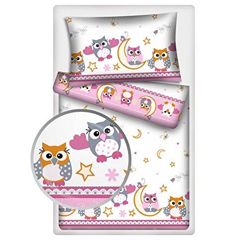 Kinderbettwäsche Eulen 2-tlg. 100% Baumwolle 40x60 + 100x135 cm mit Reißverschluss (rosa)
