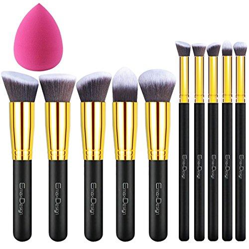 Pinsel Mac Make-up Echte (EmaxDesign 11 Make-up Pinselset, 10 Stück Gold Schwarz Professionell Premium Synthetisch Kabuki Grundierung Kosmetik Bürsten Set Und 1 Teilig Make-up Blender Schwämmchen)
