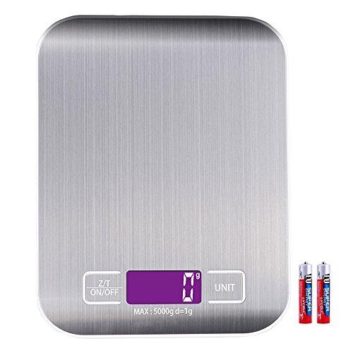 Bilancia da cucina Digitale, Billpow Scala a lettere in scala da cucina, alta precisione fino a 1 g (peso massimo 5 kg), Funzione Tara, Display LCD, Batterie Incluse(Argento) (Argento)
