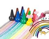 Enfant Peinture Doigt Crayons 12 Couleurs Pack de 12 Craies au Crayon Bébé Grasses Crayons de Cire Lavable GaminsCrayons empilables école Sécurité Non besoin de Tailler
