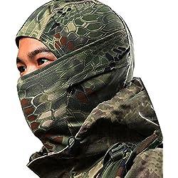 Auxma Máscara blindada de camuflaje Ciclismo Moto Cap Gorras Balaclava Full Face (Verde)