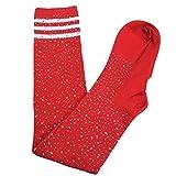 Zooarts Sexy Damen-Overknee-Socken, Bling, Glitzer, lang, für Cheerleaders, baumwolle, rot, 70 cm