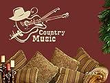 Sticker mural Tatouage mural autocollant mural Musique country (Hauteur=51x30cm//Couleur=040 Violet )
