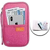 Reisebrieftasche Familien Reisepasshalter mit RFID Abschirmung P.travel Reisedokumententasche Travel Wallet Organizer für Passport Kreditkarte Flugticket + Reisepass Schutzhülle - Rose Rot